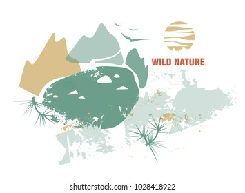 Illustration of wild nature. Design for travel blog, travel agencies. Mountain lake in the valley between the mountains, pine branches in the form of decor.