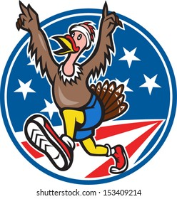 Illustration of a wild turkey run trot running runner set inside circle with American flag stars and stripes done in cartoon style on isolated white background