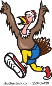 Illustration of a wild turkey run trot running runner raising hands in victory done in cartoon style on isolated white background