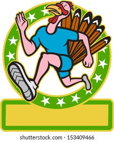 Illustration of a wild turkey run trot running runner viewed from side set inside circle done in cartoon style on isolated white background