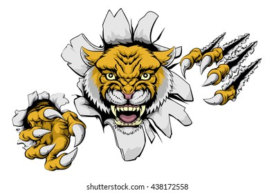 An illustration of a wildcat animal sports mascot cartoon character sprinting clawing through background