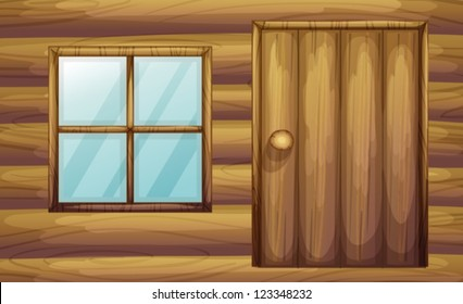 Illustration of window and door of a wooden room