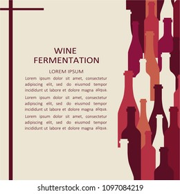 Illustration with wine bottles and text. Flat style design. Vector colorful background. Backdrop with winery elements and wine collection. Place for your text here