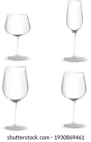 illustration wine and champagne glasses, background