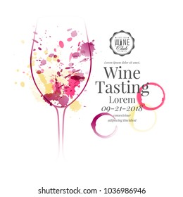 Illustration of wine glass with red, white and rose wine stains. For wine events, presentation and product tasting. Sample text Vector design