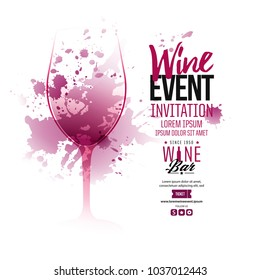 Illustration of wine glass with scattered wine stains. Text composition for invitations creativity and wine event announcement. Idea for restaurants, commercial establishments, wineries. Vector