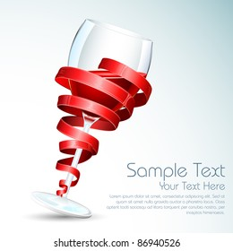 illustration of wine glass wrapped with with ribbon