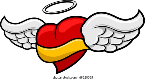 Illustration of a Winged Heart with a Ribbon Attached to it
