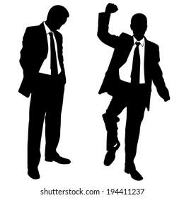 illustration of winner and loser businessmen