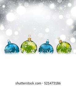 Illustration Winter Background with Colorful Glass Balls and Snowflakes - Vector