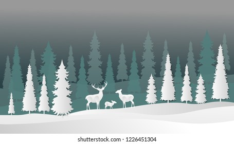 illustration of winter, and chrismas with deer and pine trees, paper art
