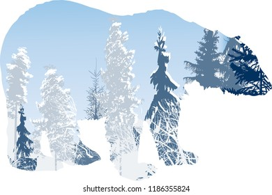 illustration with winter forest in bear outline