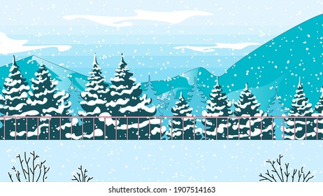 Illustration of a winter forest and mountains