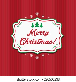 Illustration winter label with text Merry Christmas. Vector