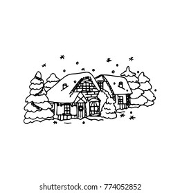 Illustration Of Winter Landscape Cartoon Country Houses Snowy Garden Snowdrift And Snowflakes