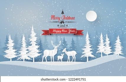 Illustration of winter season and Christmas day Deer in forest with snow.vector paper cut style.