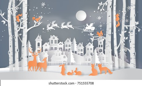 Illustration of winter season and Merry Christmas . The animal in forest with Santa Claus on the sky coming to City ,paper art and digital craft style