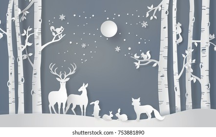 Illustration of winter season and Merry Christmas . The animal in forest with full moon,paper art and digital craft style