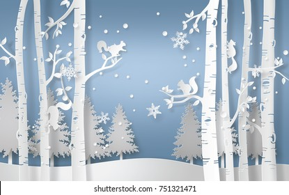 Illustration of winter season with the squirrel is climbing on the tree and snow is shining. Paper art  digital craft style.