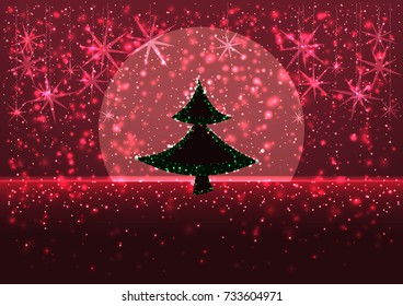 illustration of a winter snowy evening with the silhouette of a Christmas tree and moon on the horizon, greeting card Merry Christmas background