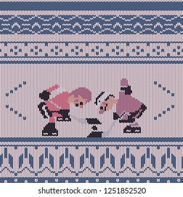 Illustration winter sweater with two hockey players playing hockey