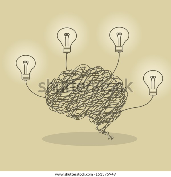 Illustration of wire brain and bright lightbulb