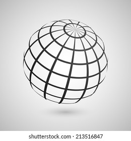 Illustration of a wire frame planet sphere, isolated on a gray background. Vector illustration, eps 10.