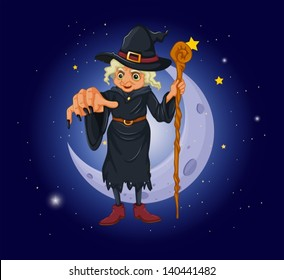 Illustration of a witch holding a stick in front of the moon
