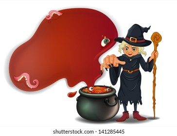 Illustration of a witch holding a stick with a pot on a white background