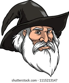 Illustration of a wizard with a black hat.
