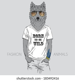 Illustration of wolf dressed up in t-shirt with quote