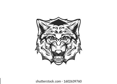 illustration of a wolf head, with a growling expression