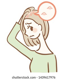 Illustration of a woman with acne on her scalp