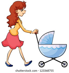 Illustration of a woman and baby pram on a white background
