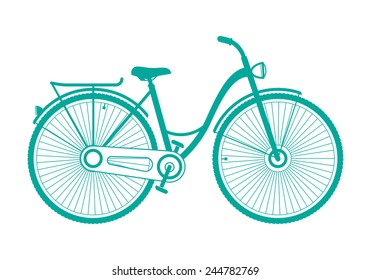 illustration woman bike with a basket