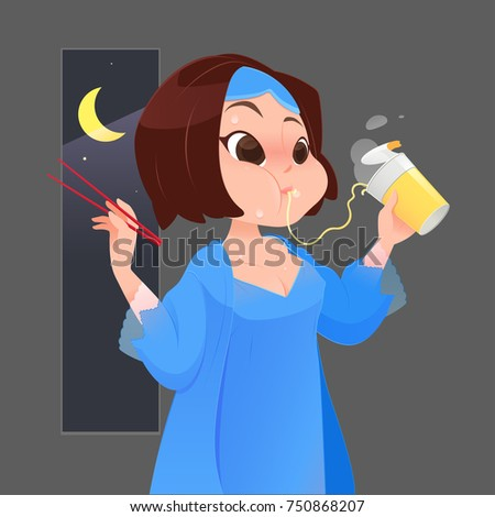 Illustration woman in blue nightgown eating instant noodle in kitchen with window at night, Cartoon vector