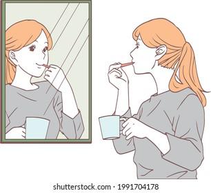 鏡を見ながら歯を磨く女性のイラスト。