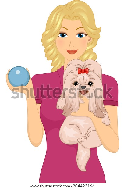 Illustration of a Woman Carrying Her Pet Dog in One Arm and Holding a Dog Toy with Her Other Hand