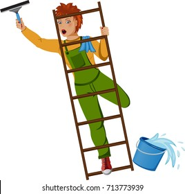 Illustration of a woman cleaning a window about to fall from the ladder