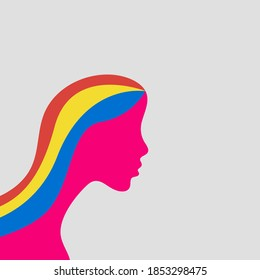 illustration of woman with colorful hair vector eps 10 - Shutterstock ID 1853298475