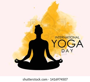 illustration of woman doing asana for International Yoga Day on 21st June -  banner, brochure and poster design. Vector