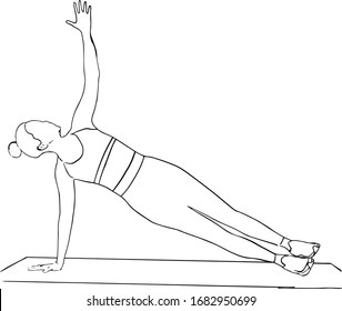 illustration of a woman doing yoga. Outline sketched vector