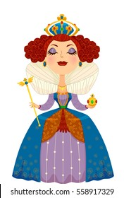 Illustration of a Woman Dressed as a Queen Complete with a Crown and Scepter