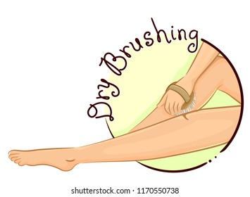 Illustration of a Woman Dry Brushing Her Legs as Part of Her Skincare Routine. Dry Brushing Icon