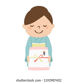 Illustration of a woman.She expresses gratitude and hands gifts to her.