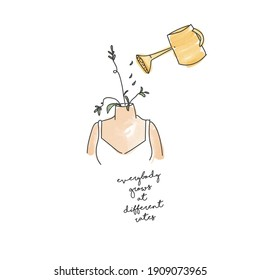 """Illustration of a woman with flowers  still not fully grown yet, a watering can sprinkling water into her. With the text """"Everybody grows at different rates"""".  Wellbeing, self love and care concept."""