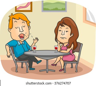 Illustration of a Woman Getting Bored Over Her Date's Endless Talking