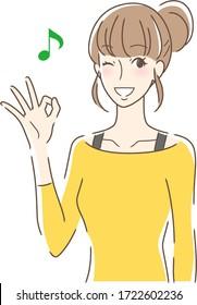 笑顔でOKサインを出す女性のイラスト