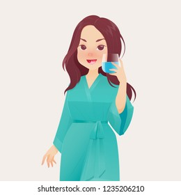 Illustration woman in green robe rinsing and gargling while using mouthwash from a glass. During daily oral hygiene routine. Concept with cartoon for dental health.
