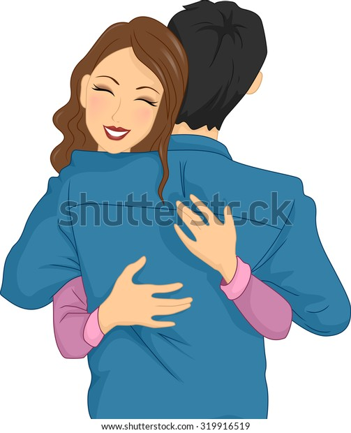 Illustration of a Woman Happily Hugging Her Partner